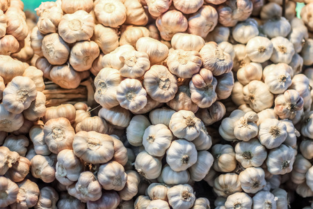 plenty: Plenty of garlic at the market for sell Stock Photo