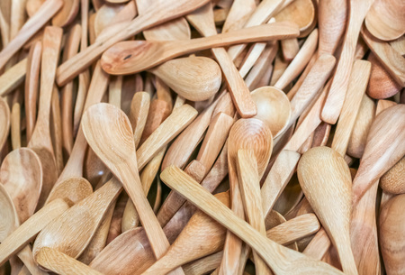 close up top view plenty of new wooden spoon Stock Photo