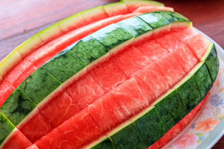 ready to eat: close up top view style of peeled watermelon ready to eat.