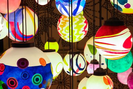 hanging lamp: close up colorful shining hanging lamp ball