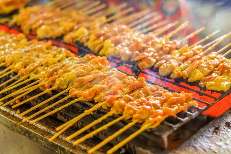 grilled pork satays on the stove oven thai style Stock Photo