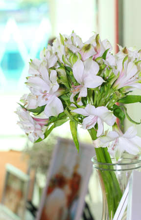 white lilly: bouquet of white lilly flower in the jar Stock Photo