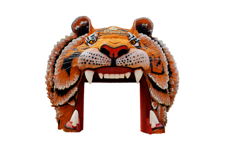 Isolated tiger head open its mouth as a gate in white background