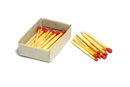 match box: Close up of group red match stick with box isolated on a white background