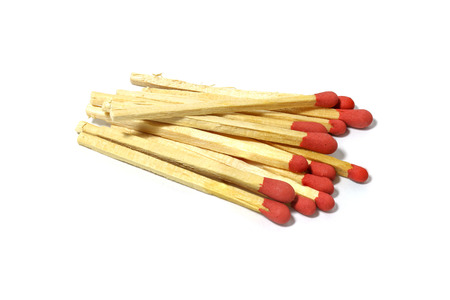 unlit: Close up of group red match stick isolated on a white background Stock Photo