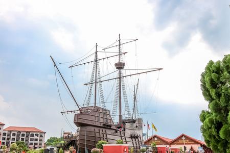 MALACCA, MALAYSIA - July 16: Malacca Maritime Museum on July 16, 2016 in Malacca, Malaysia. It is a replica of the Flora de La Mar a Portuguese ship that sank off the coast of Melaka. Editorial