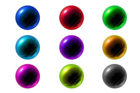 glass reflection: Isolated set of colorful glass ball with reflection in various color on white background