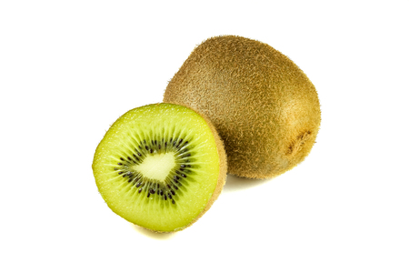 close up view: Close up macro kiwi fruit slices cut isolated on white background