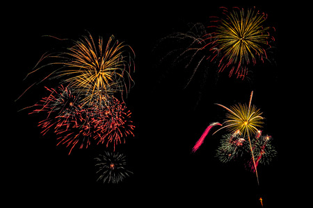 blowup: Isolated set of fireworks on black background