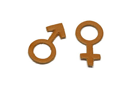 Men and Female with love abstract symbol made of leather isolated on white background Stock Photo