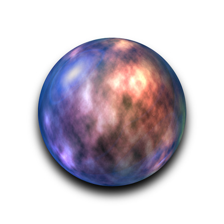 astronomic: Isolated abstract nebula and galaxy in the glass ball on white background Stock Photo