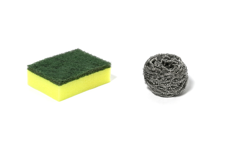 green nylon fibers wool cleaners and cleaning steel wire wool, detergents, household cleaning equipment on white background