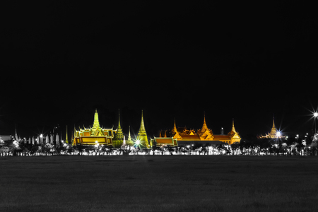 grand pa: Black and whte effect with specific color of Wat pra kaew Public Temple Grand palace at night, Bangkok Thailand