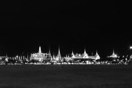 grand pa: Black and white effect of Wat pra kaew Public Temple Grand palace at night, Bangkok Thailand