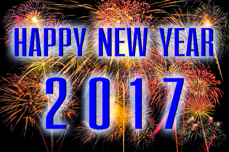 Happy New Year 2017 with colorful firework background