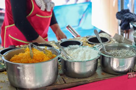 Thai style pancake with coconut, sugar, sesame, Sweet egg floss