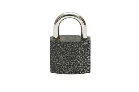 padlock shut off: Isolated lock and key chain on white background Stock Photo