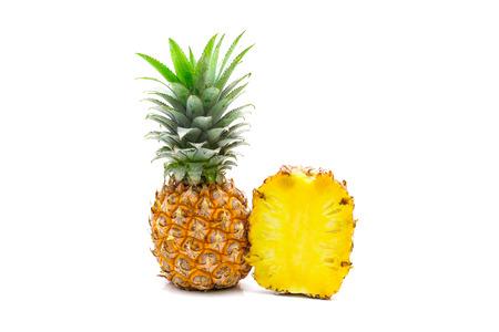 Isolated of pineapple fruit sliced on white background Stock Photo