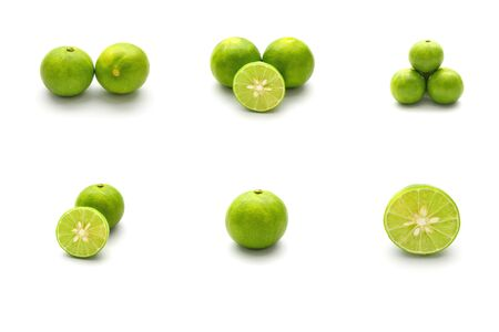 Isolated set of fresh lime and sliced fresh lime on white background Stock Photo