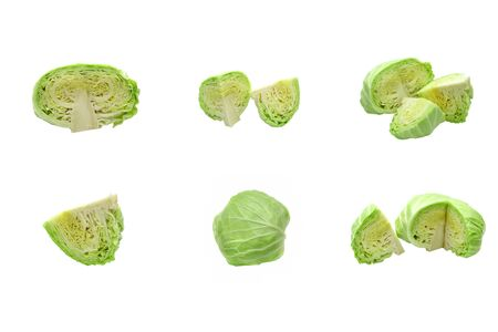 Collection set of cabbage sliced Isolated on white background