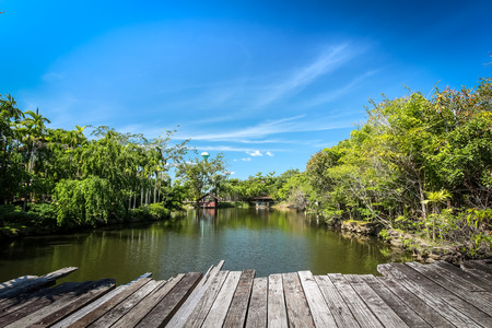 View of the wooden bridge over the lake with blue sky