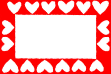 Valentine day concept, square frame of red paper in heart shape as background