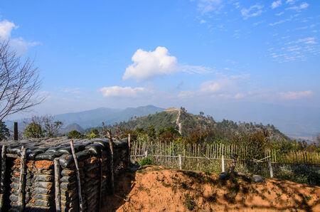 border line: old bunker at border line Thailand-myanmar