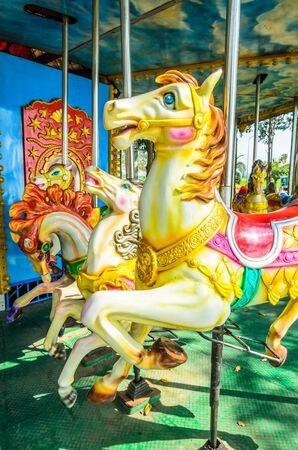 carousel horse in the playground 免版税图像