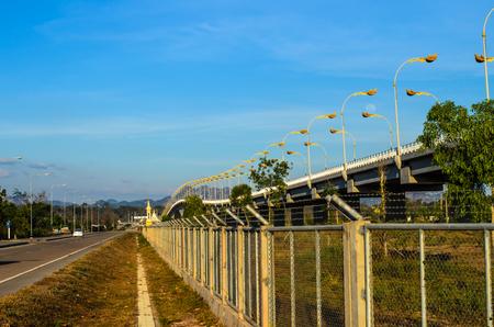across: Thai-Laos Freindship Bridge across border,nakorn phanom Thailand