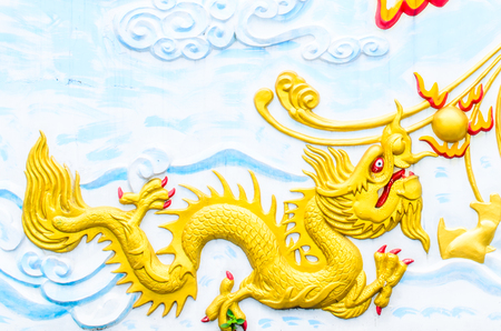 baby dragon: Baby dragon on the wall of temple,thailand