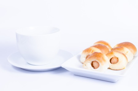 tn: coffee and bread with sausage,sausage tn the dough