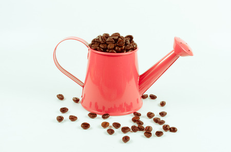 water in can: roasted coffee beans in pink water can
