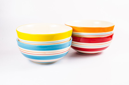receptacle: set of colorful bowl Stock Photo