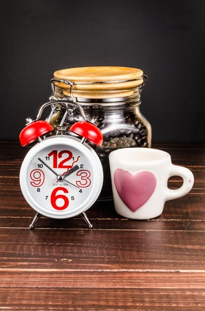 Coffee time,alarm clock with coffee glass bottle