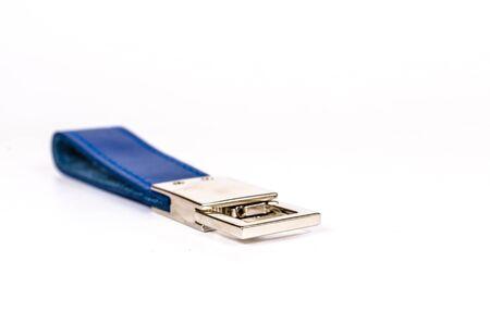 keyring: Blue leather keyring isolate on white background