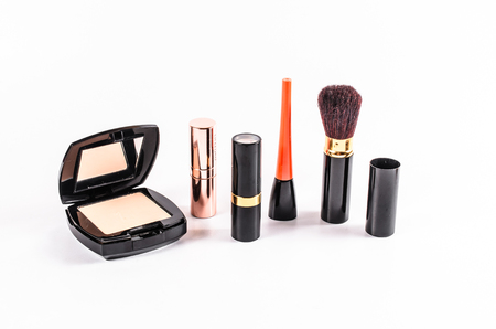 makeup a brush: set of makeup cosmetic isolated on white background, powder case