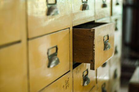 drawer: Open vintage yellow drawer Stock Photo
