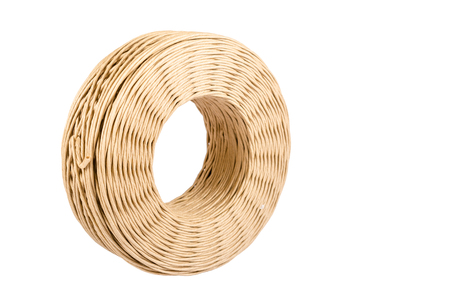 twine: roll of paper twine cord isolated on white background or packaging paper string