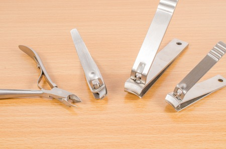manicure set: tool of manicure set on wooden table Stock Photo