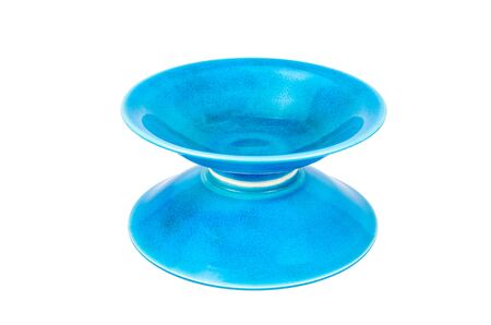 receptacle: empty blue bowl on white background