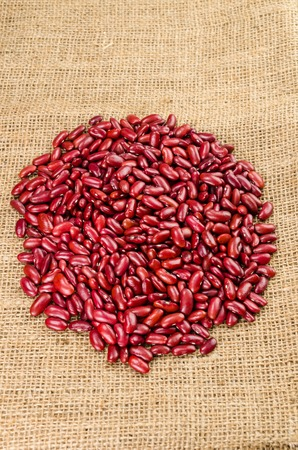 red bean: Red bean on sack cloth