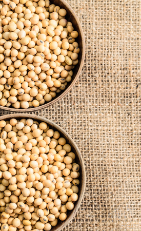 soymilk: soybeans in wooden bowl on sackcloth background