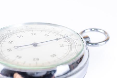 atmospheric pressure: barometer isolated on white background,atmospheric pressure Stock Photo