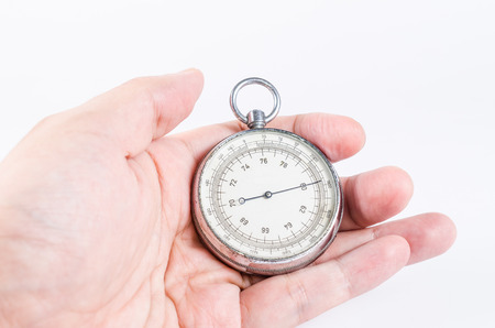 atmospheric pressure: barometer in hand isolated on white background,atmospheric pressure Stock Photo