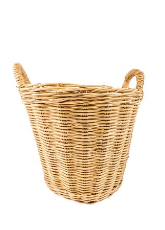 wicker basket: wicker basket isolated on white background