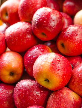 manzana roja: Antecedentes de la manzana roja fresca con gota Foto de archivo