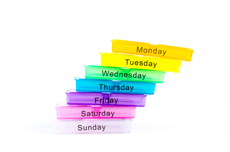 pill box: color pill box for a week