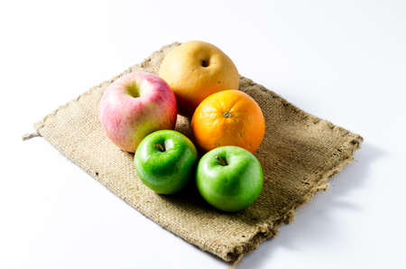 sack cloth: ripe fruit on sack cloth