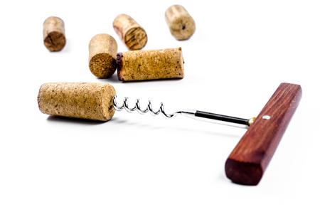 uncork: corkscrew for open winecork on white background