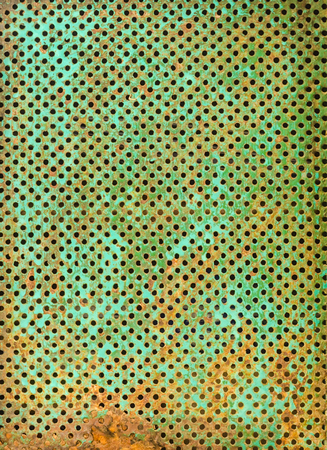 rust metal: abstract grunge background of rust cell  in green Stock Photo